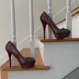 Glitter Stiletto Platform High Heels  7
